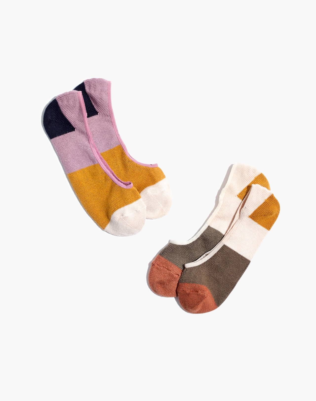 Two-Pack Colorblock Low-Profile Socks in antique lace multi image 1