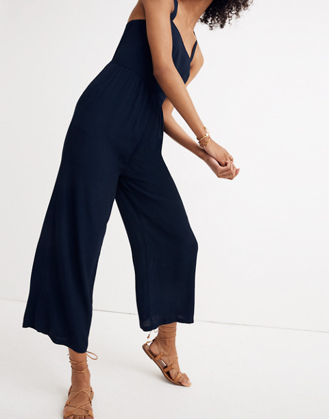 Smocked Crop Jumpsuit in deep navy image 2