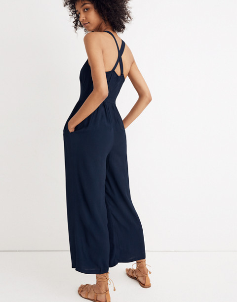 Smocked Crop Jumpsuit in deep navy image 3