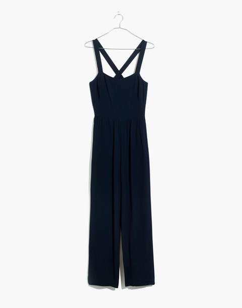 Smocked Crop Jumpsuit in deep navy image 4