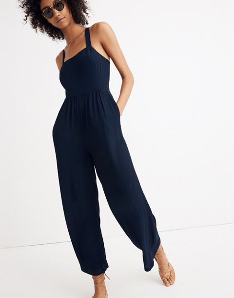 Smocked Crop Jumpsuit in deep navy image 1
