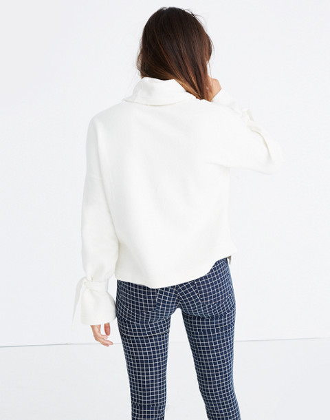 Mockneck Tie-Cuff Top in bright ivory image 3