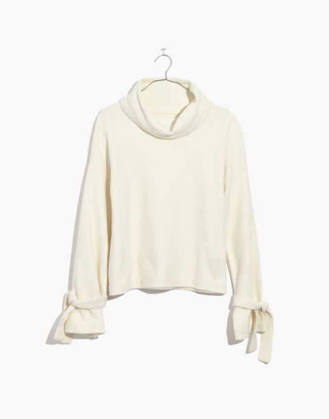 Mockneck Tie-Cuff Top in bright ivory image 4