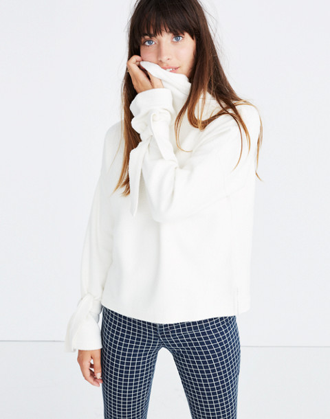 Mockneck Tie-Cuff Top in bright ivory image 1