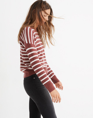 Cashmere Sweatshirt in Stripe in autumn berry image 2