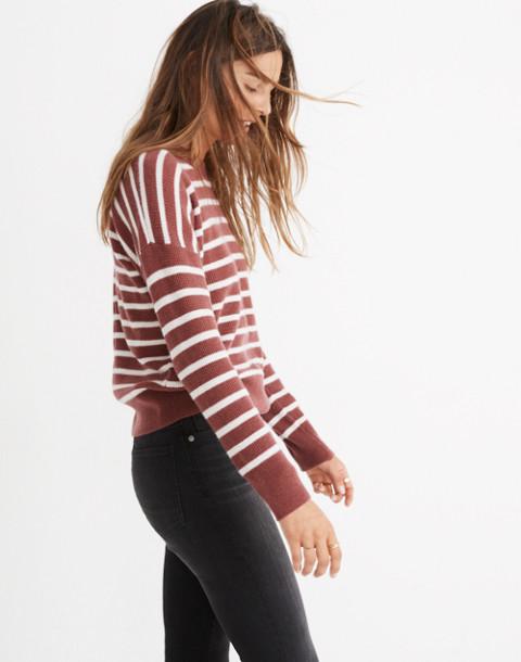Cashmere Sweatshirt in Stripe in autumn berry image 2