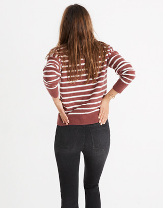 Cashmere Sweatshirt in Stripe in autumn berry image 3