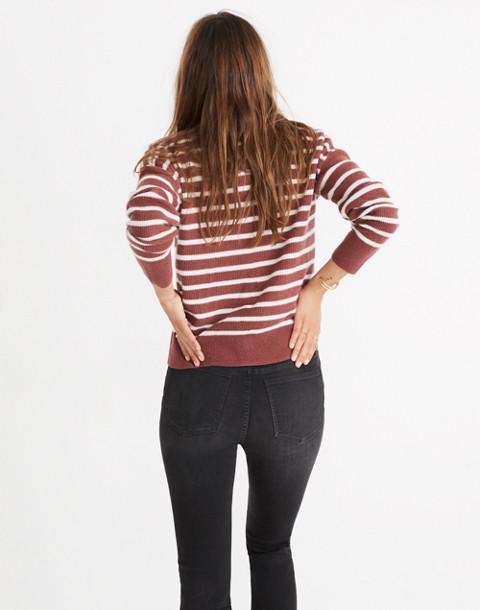 Cashmere Sweatshirt in Stripe in autumn berry image 3