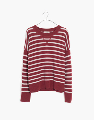 Cashmere Sweatshirt in Stripe in autumn berry image 4