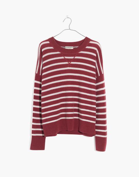 Cashmere Sweatshirt in Stripe in autumn berry image 4
