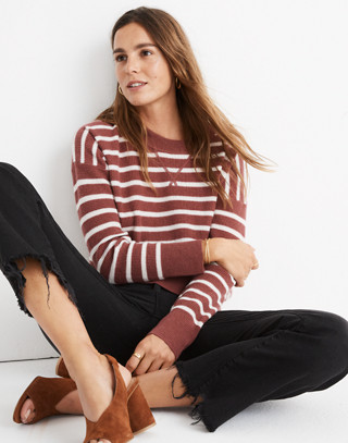 Cashmere Sweatshirt in Stripe in autumn berry image 1