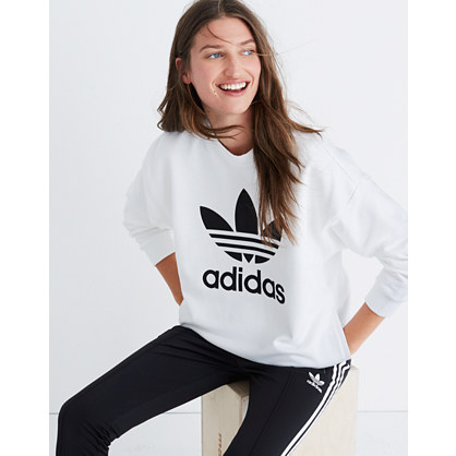 Adidas® Originals Trefoil Crewneck Sweatshirt in White