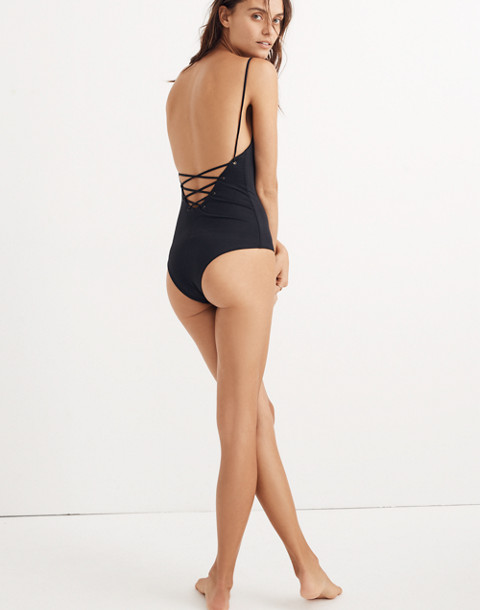 Tavik® Monahan Lace-Up One-Piece Swimsuit in true black image 3