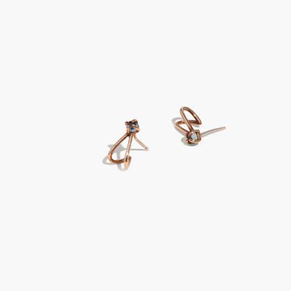 Demi-Fine Bronze Blue Topaz Stud Earrings