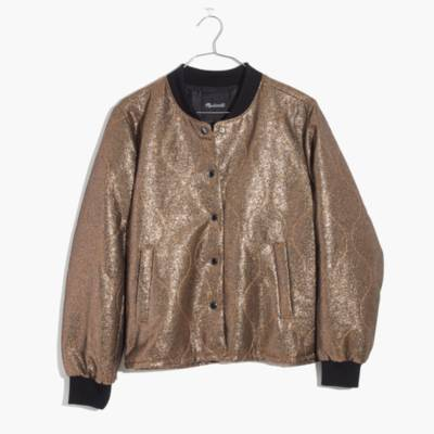 Metallic Quilted Military Jacket
