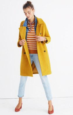 Bouclé Double-Breasted Coat