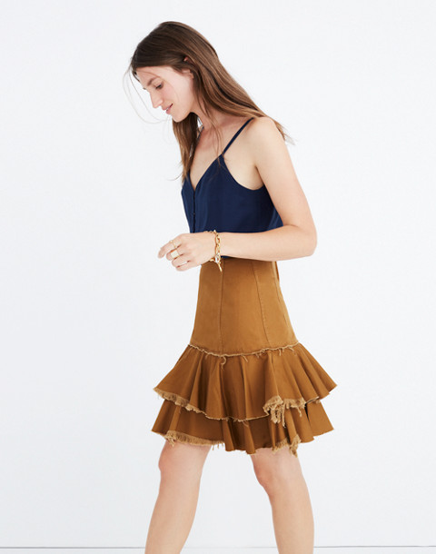Karen Walker® Saddle Tiered Skirt in tan image 2