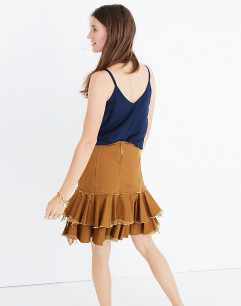 Karen Walker® Saddle Tiered Skirt in tan image 3