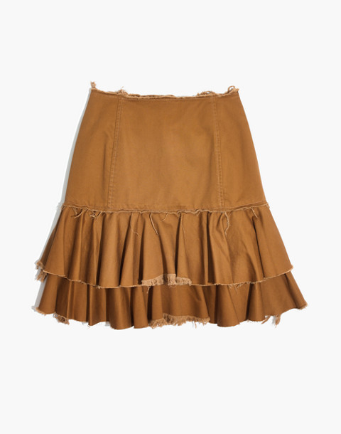 Karen Walker® Saddle Tiered Skirt in tan image 4