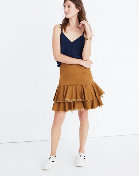 Karen Walker® Saddle Tiered Skirt in tan image 1