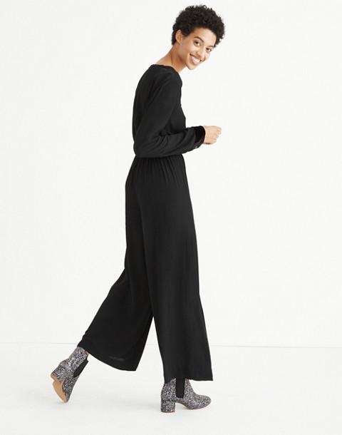 Velvet-Trimmed Tie Jumpsuit in true black image 2