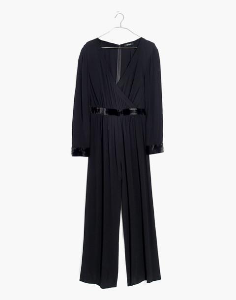 Velvet-Trimmed Tie Jumpsuit in true black image 4
