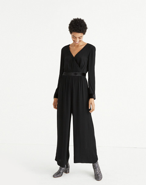 Velvet-Trimmed Tie Jumpsuit in true black image 1