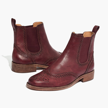 The Ivan Brogue Chelsea Boot in Dark Cabernet