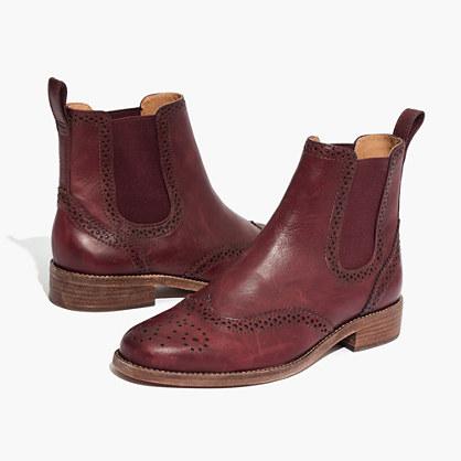 The Ivan Brogue Chelsea Boot in Dark Cabernet