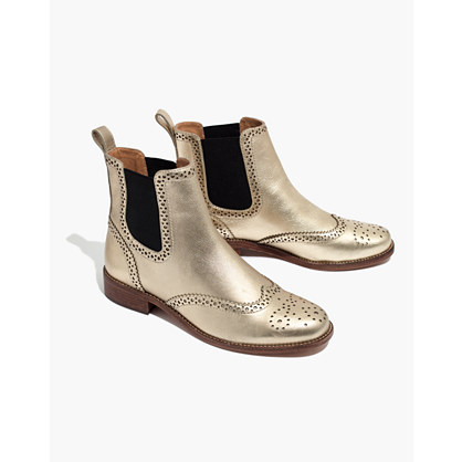 The Ivan Brogue Chelsea Boot in Metallic