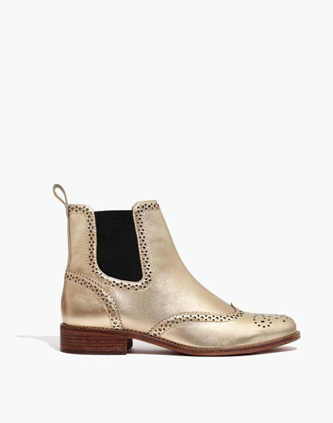 The Ivan Brogue Chelsea Boot in Metallic in metallic white gold image 2