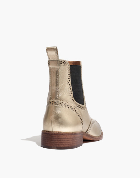 The Ivan Brogue Chelsea Boot in Metallic in metallic white gold image 3