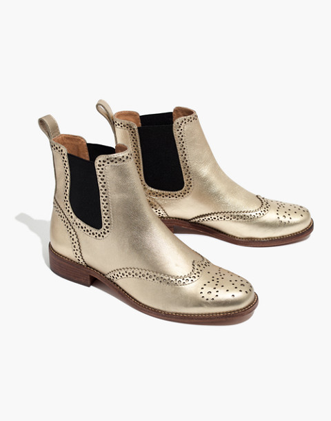 The Ivan Brogue Chelsea Boot in Metallic in metallic white gold image 1