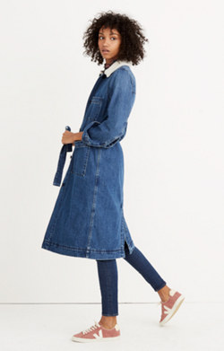 Denim Duster Coat: Sherpa Edition
