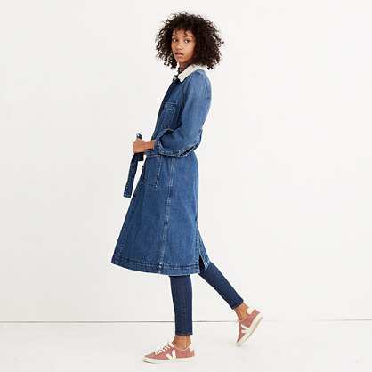 Pre-order Denim Duster Coat: Sherpa Edition