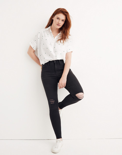 "9"" High-Rise Skinny Jeans in Black Sea"