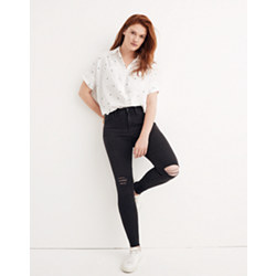 "Short 9"" High-Rise Skinny Jeans in Black Sea"