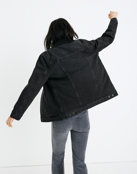 The Oversized Jean Jacket in Gallagher Black: Sherpa Edition in gallagher wash image 3