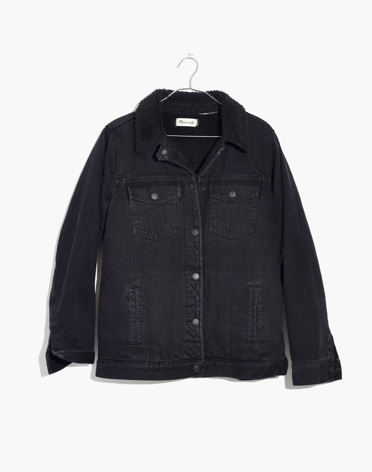 The Oversized Jean Jacket in Gallagher Black: Sherpa Edition in gallagher wash image 4