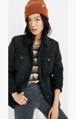 The Oversized Jean Jacket in Gallagher Black: Sherpa Edition