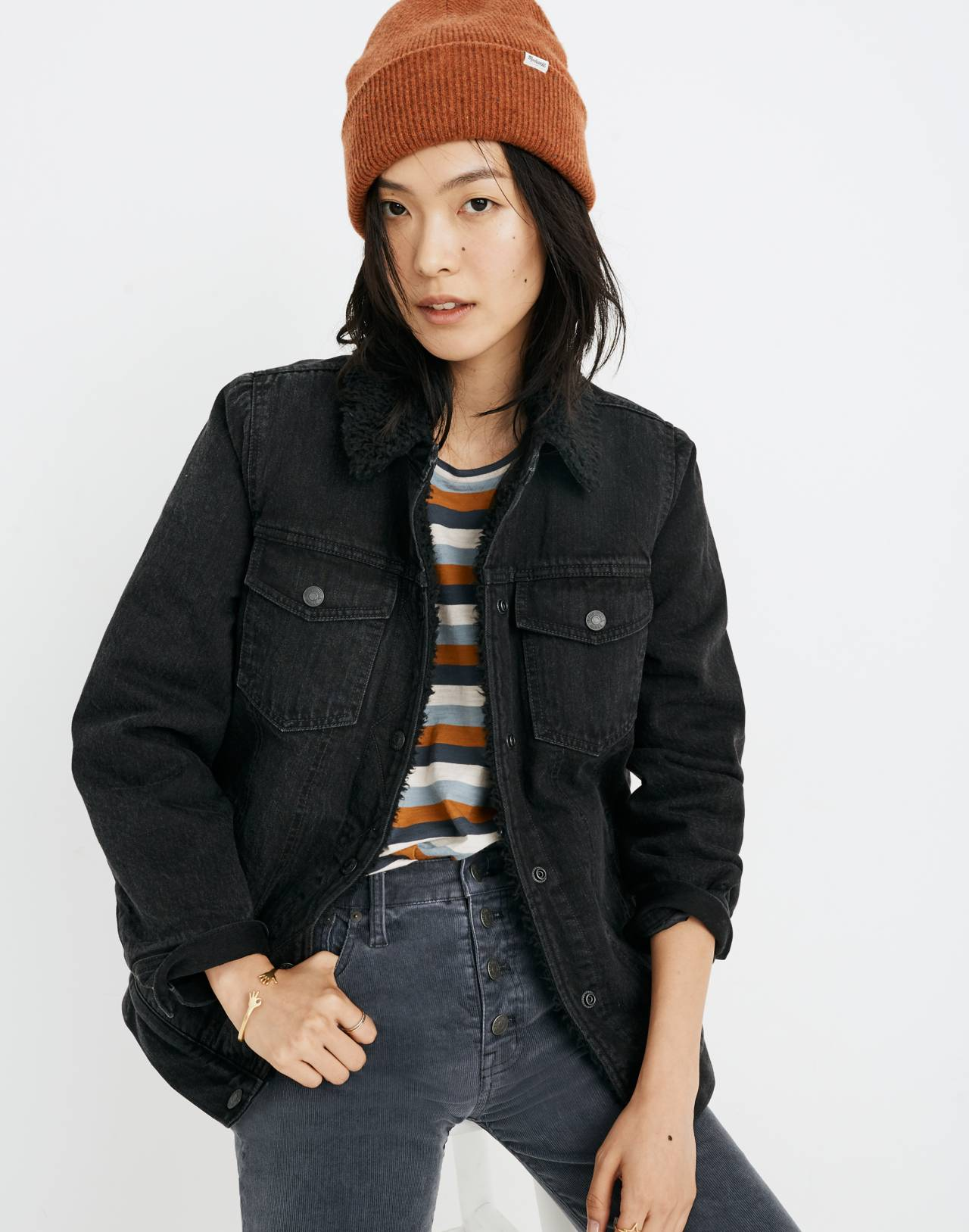The Oversized Jean Jacket in Gallagher Black: Sherpa Edition in gallagher wash image 1