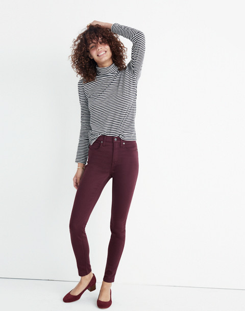 "Taller 10"" High-Rise Skinny Sateen Jeans in deep plum image 2"