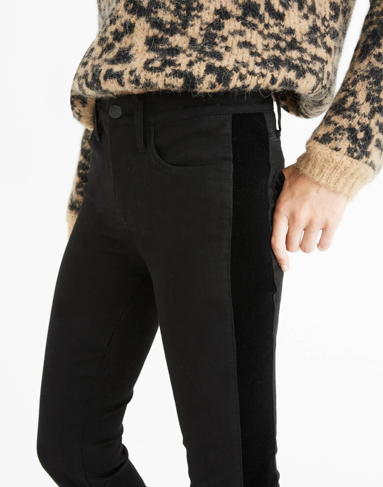 """9"""" High-Rise Skinny Jeans: Velvet Tuxedo Stripe Edition in esther wash image 2"""