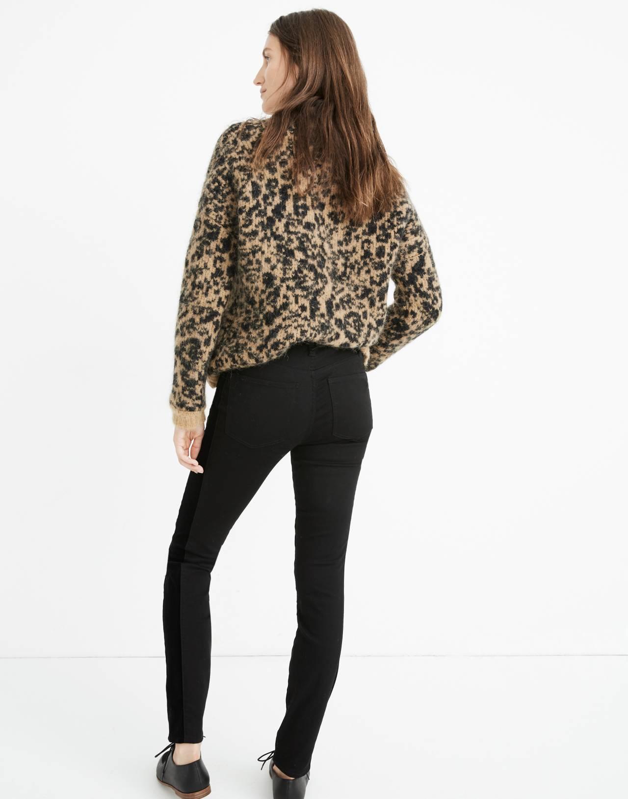 """9"""" High-Rise Skinny Jeans: Velvet Tuxedo Stripe Edition in esther wash image 3"""
