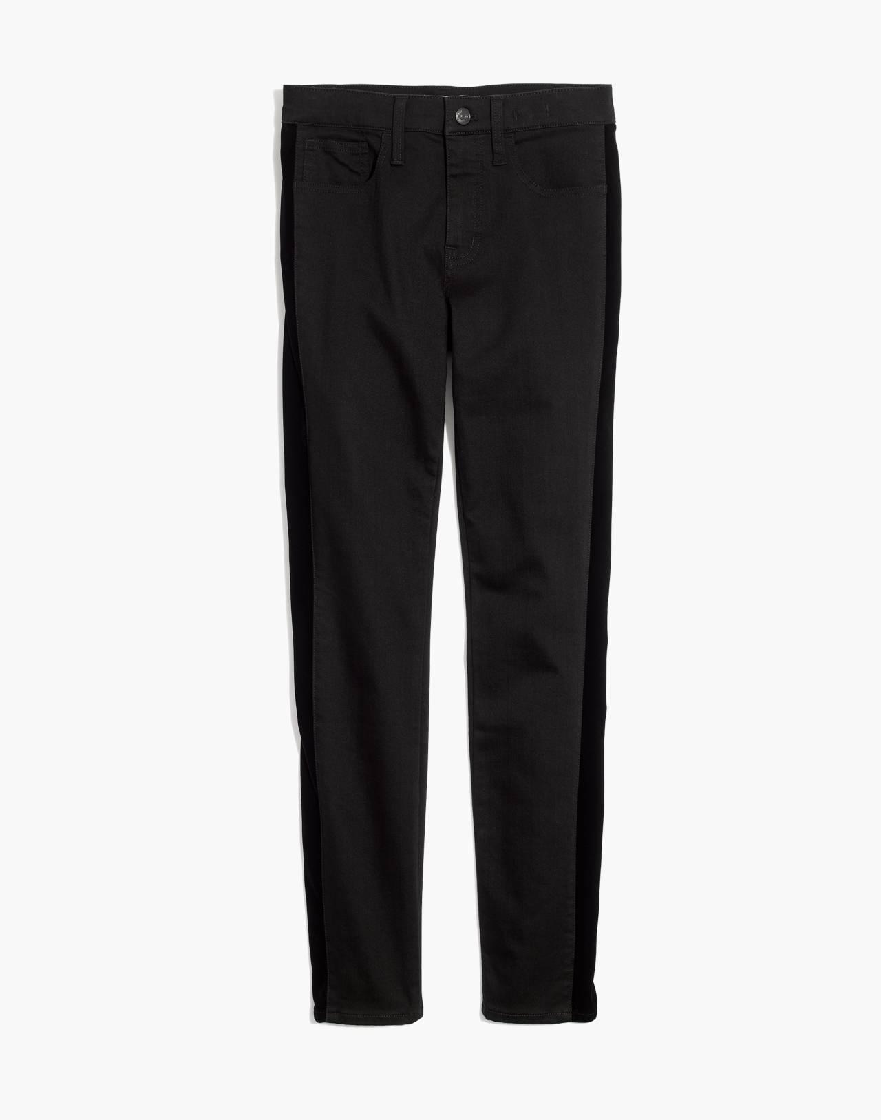 """9"""" High-Rise Skinny Jeans: Velvet Tuxedo Stripe Edition in esther wash image 4"""