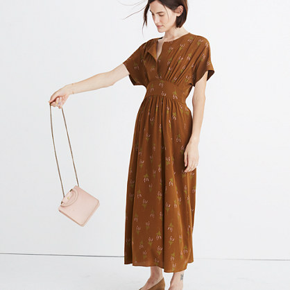 Madewell x No.6 Silk Kimono Dress in Wisteria Spray