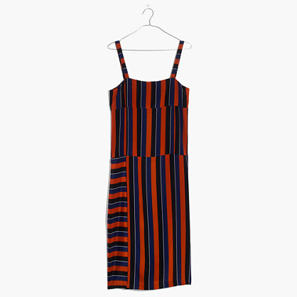 Madewell x No.6 Silk Patchwork Shift Dress in Multi-Stripe