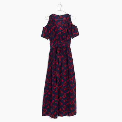 Madewell x No.6 Silk Open-Shoulder Dress in Vintage Rose