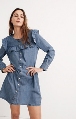 Chambray Ruffle-Yoke Shirtdress