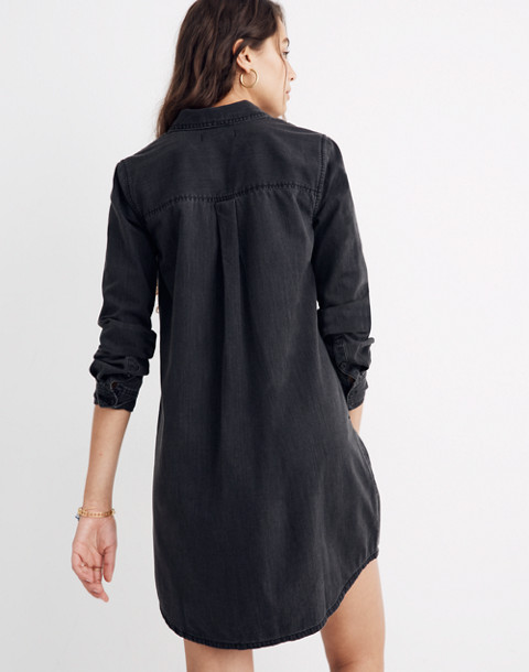 Black Denim Shirtdress in colton wash image 3